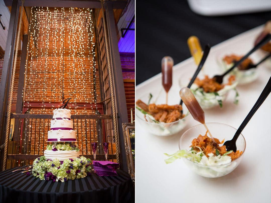 wedding cake in front of christmas lights and creative presentation of bbq