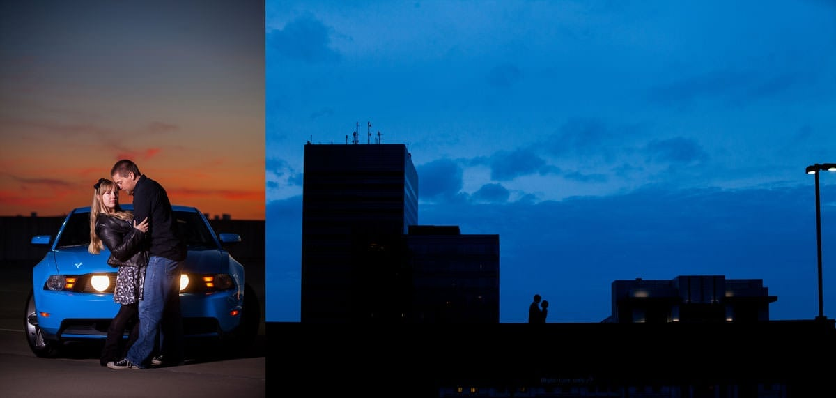 engagement sessions on top of parking garages in downtown Columbia SC