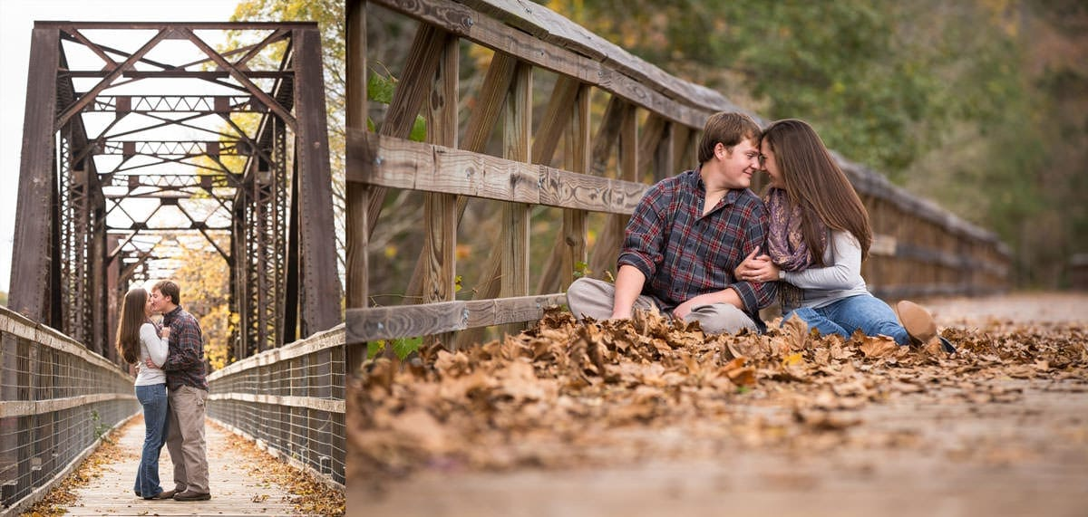 Peak trestle bridge engagement photos